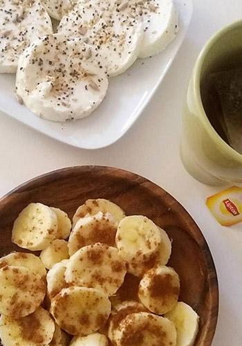 Alimentação saudável - Queijo e banana